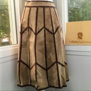 Vintage Brown Crochet & Suede A-Line Midi Skirt